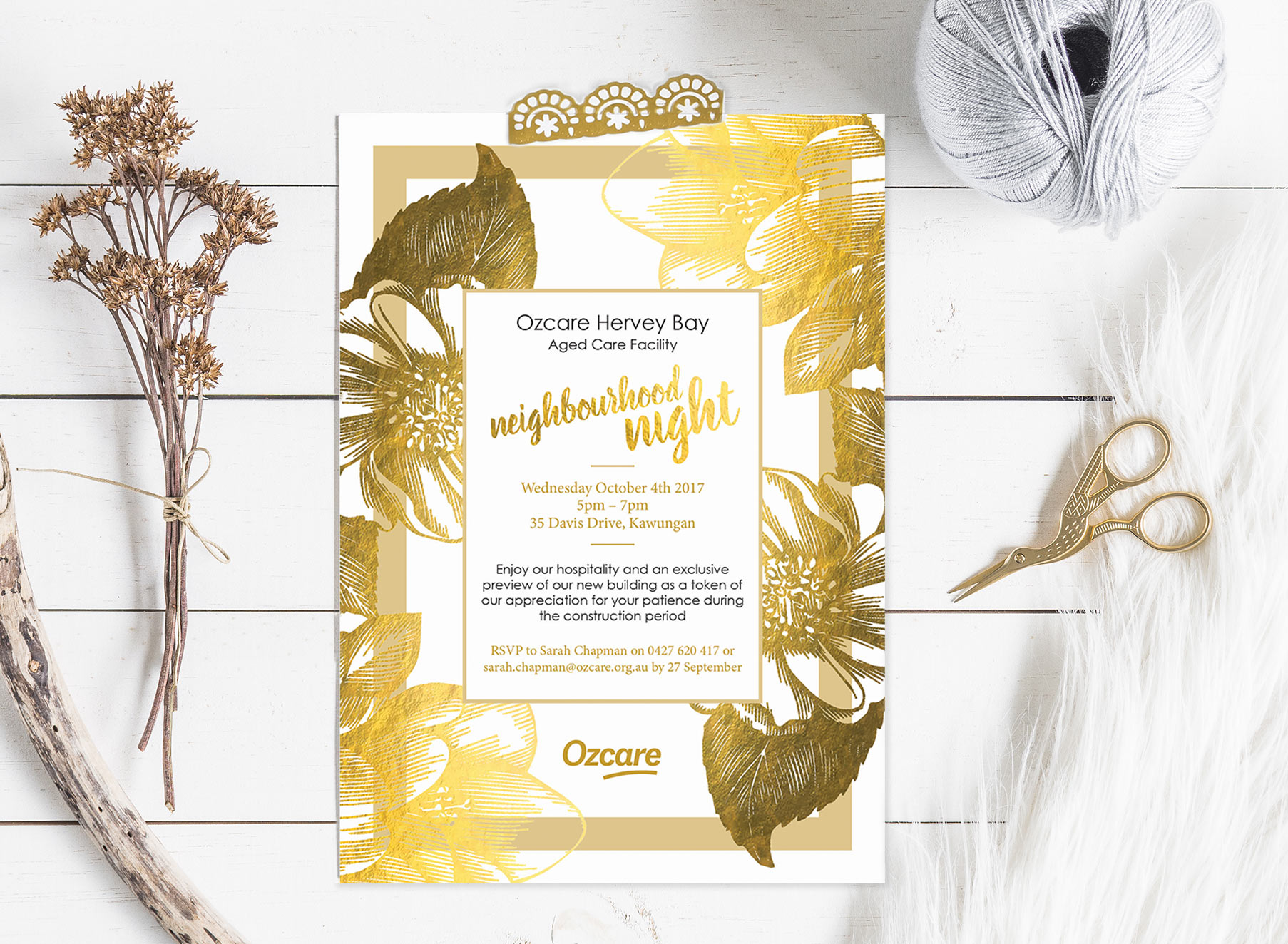 Ozcare Hervey Bay Neighbourhood Night Invite - Folio