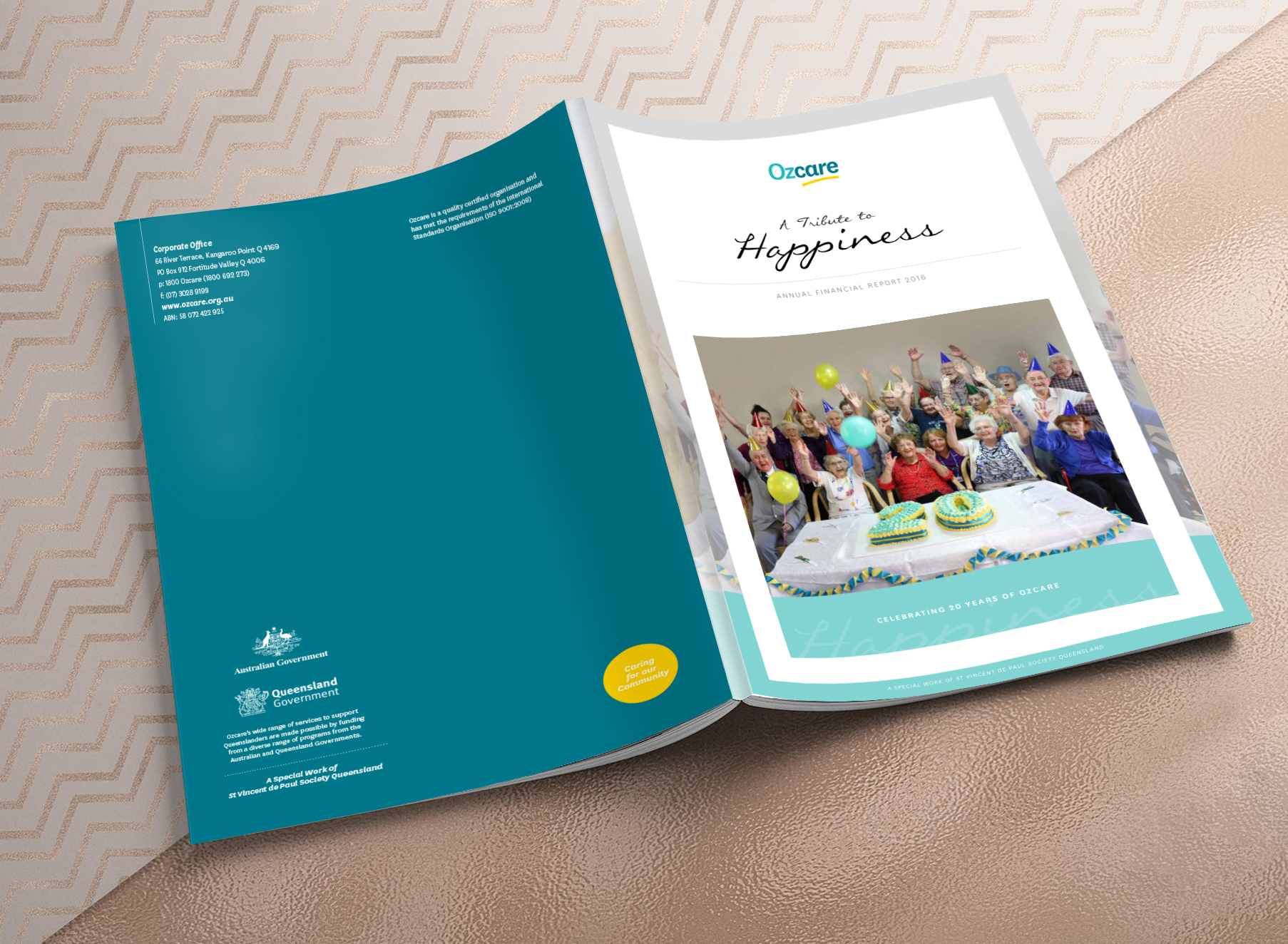 Ozcare 2016 Annual Report Cover - Folio Graphic Design
