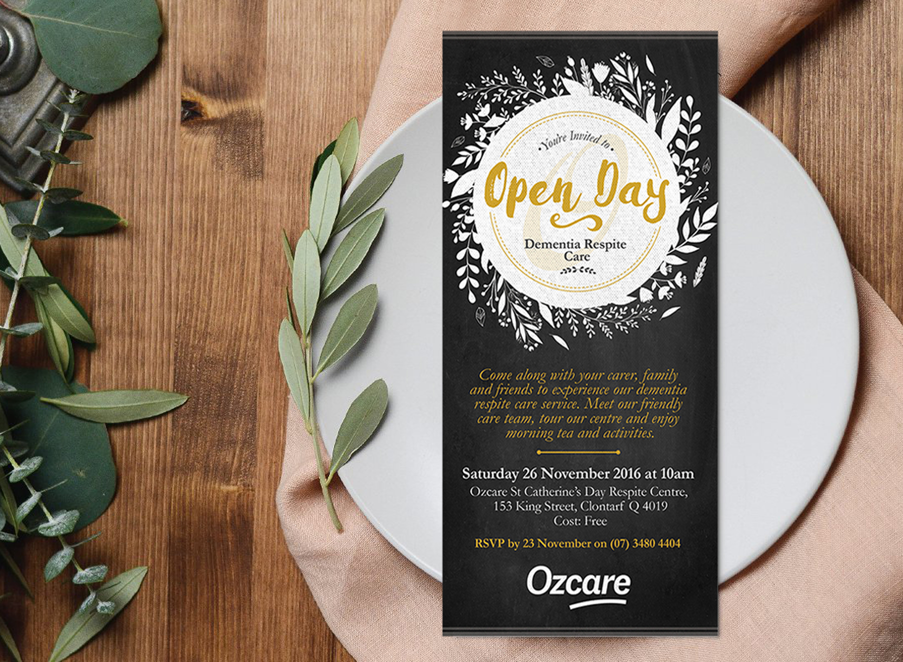 Ozcare Dementia Respite Invite - Folio Graphic Design