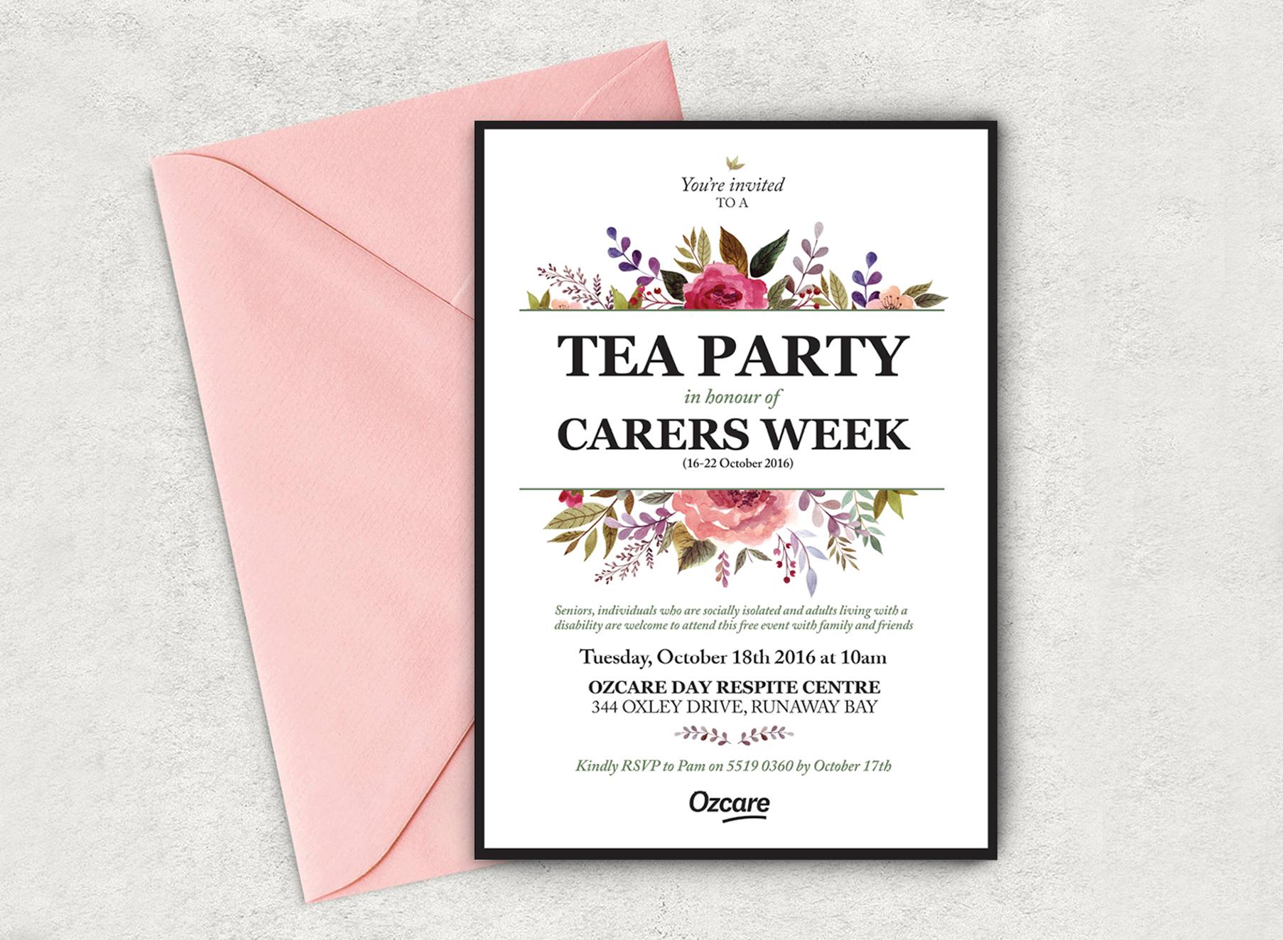 Ozcare Tea Party Invite - Folio Graphic Design